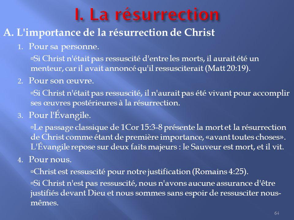 A.L importance de la résurrection de Christ 1. Pour sa personne.