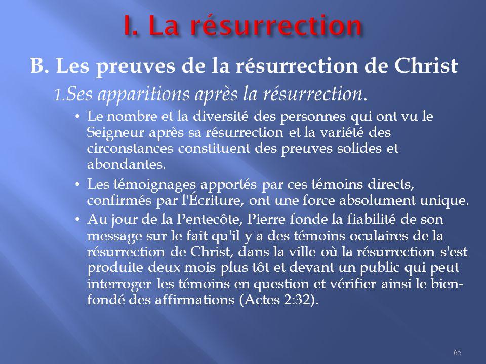 B.Les preuves de la résurrection de Christ 1. Ses apparitions après la résurrection.