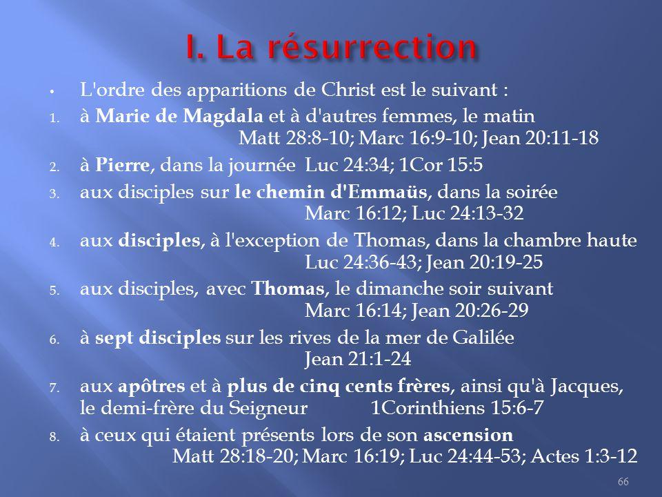 L ordre des apparitions de Christ est le suivant : 1.