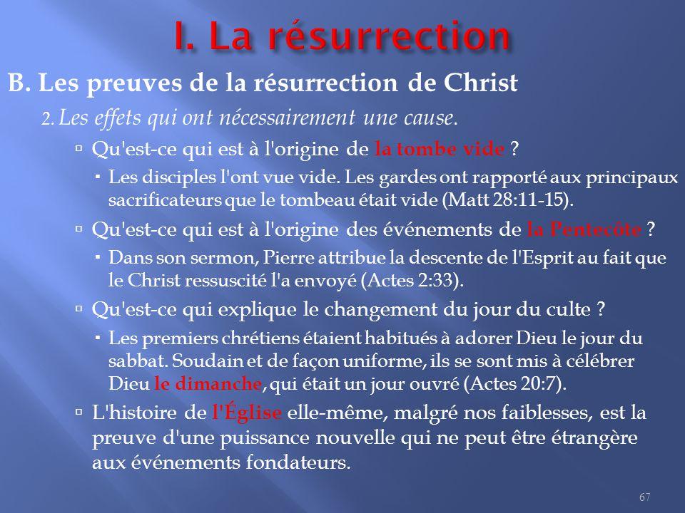 B.Les preuves de la résurrection de Christ 2. Les effets qui ont nécessairement une cause.