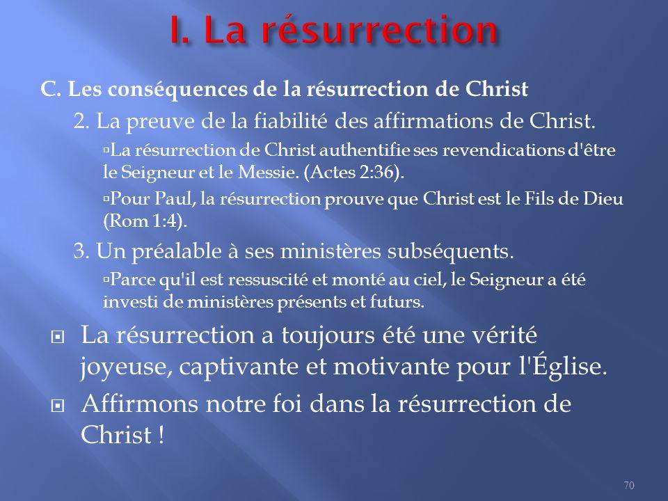 C.Les conséquences de la résurrection de Christ 2.