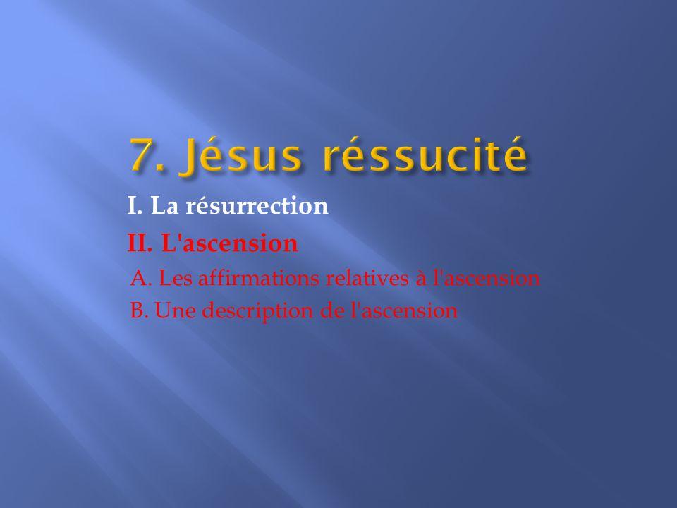 I.La résurrection II. L ascension A. Les affirmations relatives à l ascension B.