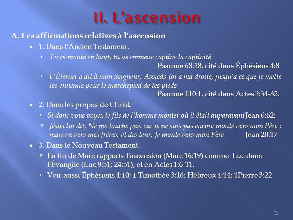 A.Les affirmations relatives à l ascension  1. Dans l Ancien Testament.