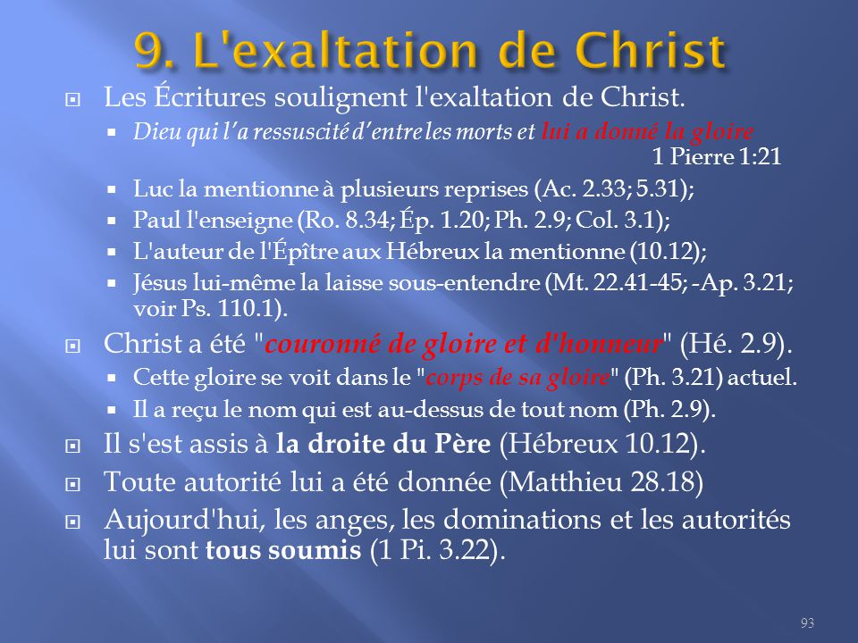  Les Écritures soulignent l exaltation de Christ.