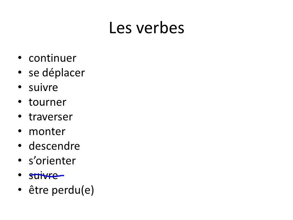 Les verbes continuer se déplacer suivre tourner traverser monter descendre s'orienter suivre être perdu(e)