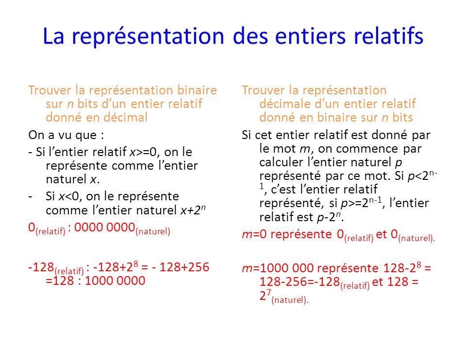 La représentation des entiers relatifs Trouver la représentation binaire sur n bits d'un entier relatif donné en décimal On a vu que : - Si l'entier relatif x>=0, on le représente comme l'entier naturel x.