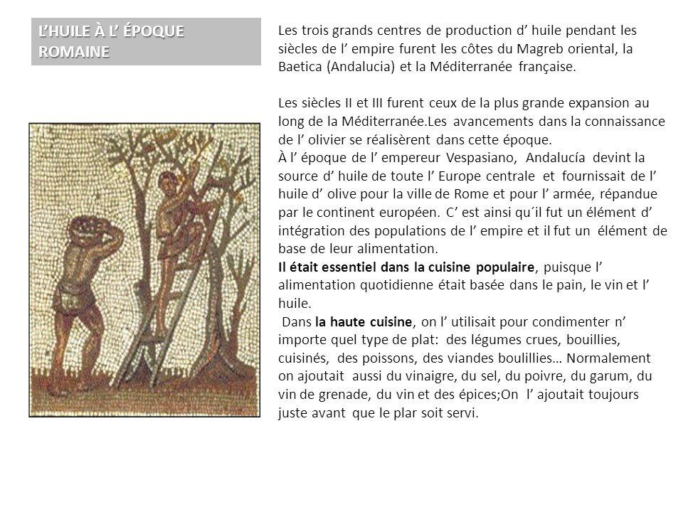 . L'HUILE À L' ÉPOQUE ROMAINE Les trois grands centres de production d' huile pendant les siècles de l' empire furent les côtes du Magreb oriental, la
