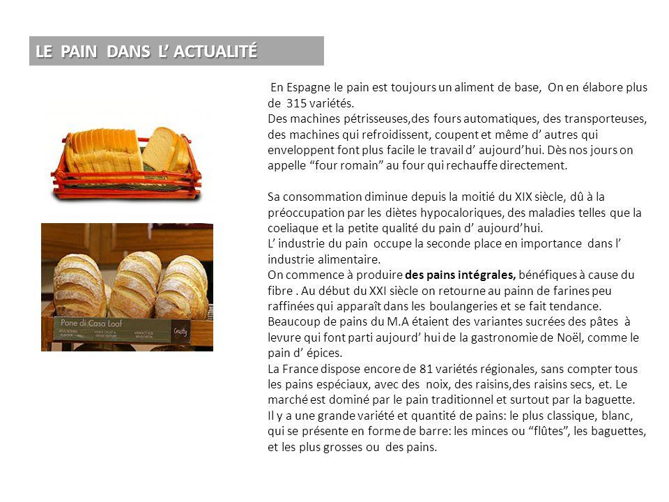 En Espagne le pain est toujours un aliment de base, On en élabore plus de 315 variétés. Des machines pétrisseuses,des fours automatiques, des transpor