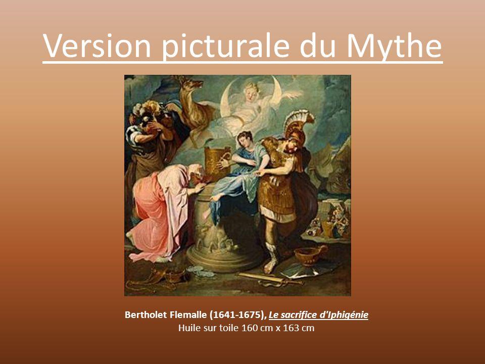 Version picturale du Mythe Le tableau représente une scène tragique dans lequel on assiste à la mort d'Iphigénie Devant l'horreur de la scène tous les personnages semblent terriblement bouleversés par la mort d'Iphigénie.