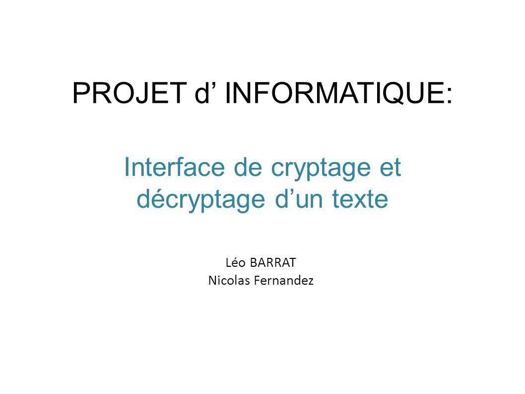 PROJET d' INFORMATIQUE: Interface de cryptage et décryptage d'un texte Léo BARRAT Nicolas Fernandez
