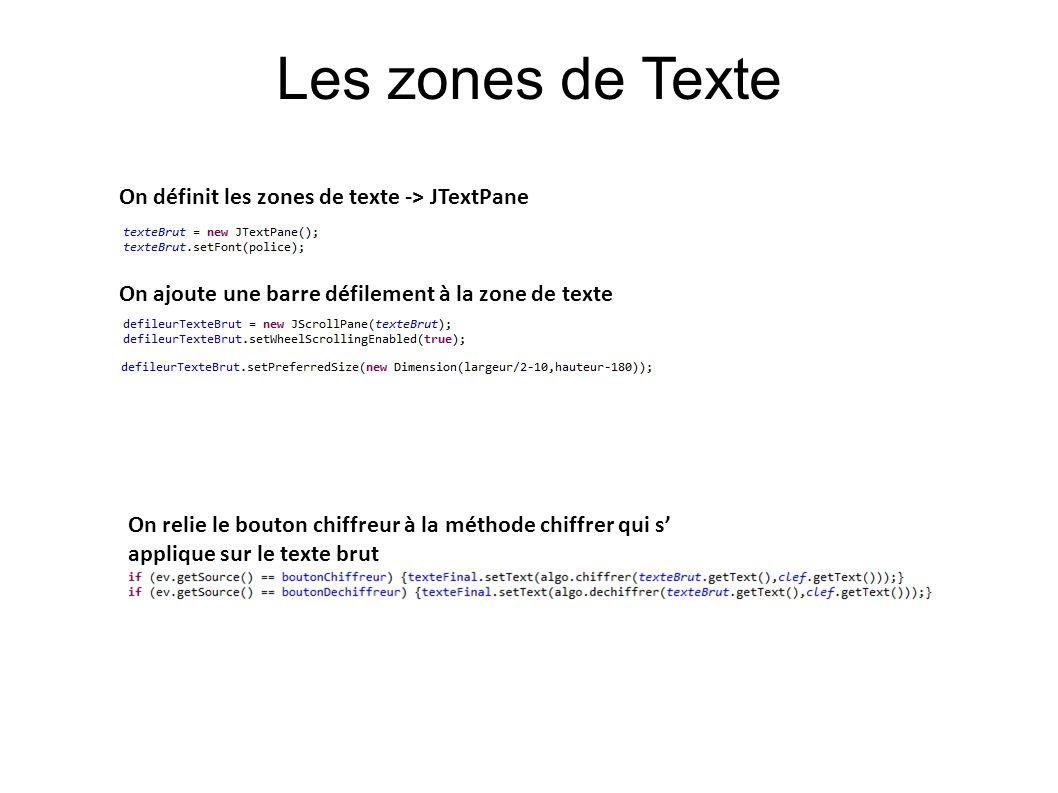 Les zones de Texte On définit les zones de texte -> JTextPane On ajoute une barre défilement à la zone de texte On relie le bouton chiffreur à la méth
