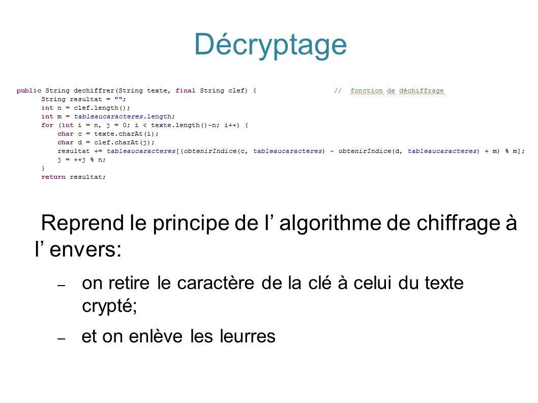 Décryptage Reprend le principe de l' algorithme de chiffrage à l' envers: – on retire le caractère de la clé à celui du texte crypté; – et on enlève l
