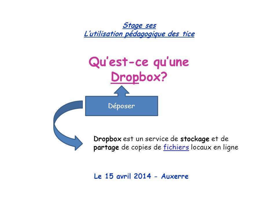 Stage ses L'utilisation pédagogique des tice Qu'est-ce qu'une Dropbox.