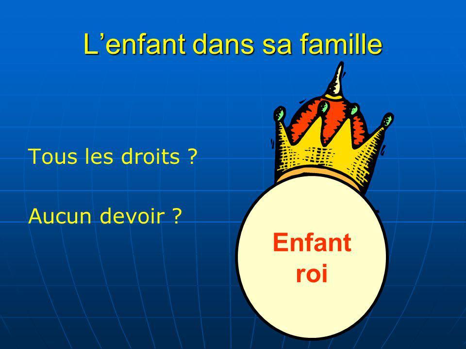 L'enfant dans sa famille Tous les droits Aucun devoir Enfant roi
