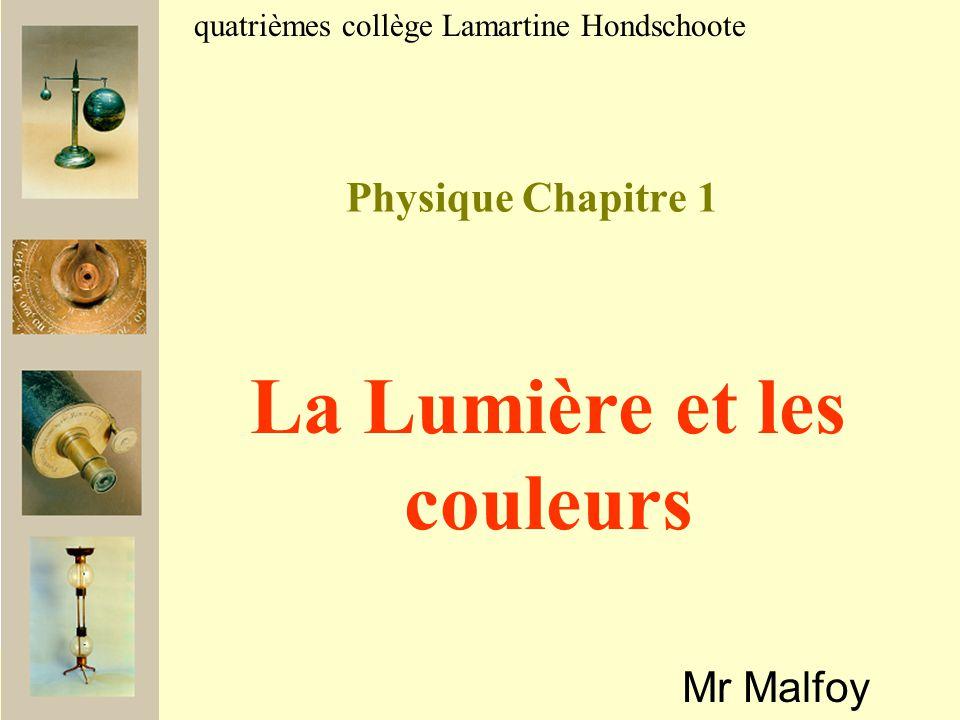 Physique Chapitre 1 Mr Malfoy quatrièmes collège Lamartine Hondschoote La Lumière et les couleurs