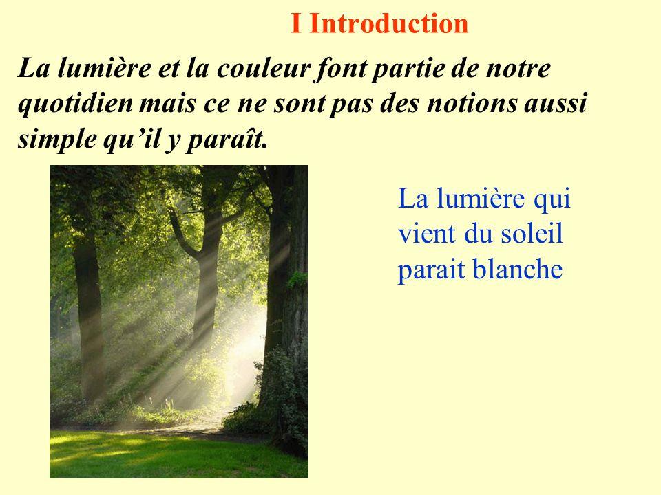 I Introduction La lumière et la couleur font partie de notre quotidien mais ce ne sont pas des notions aussi simple qu'il y paraît. La lumière qui vie