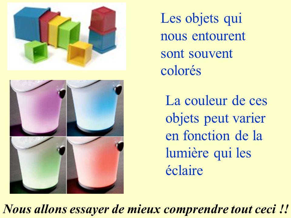 Les objets qui nous entourent sont souvent colorés La couleur de ces objets peut varier en fonction de la lumière qui les éclaire Nous allons essayer