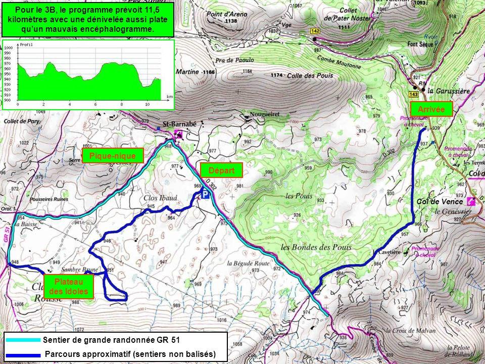 Départ Plateau des Idoles Pique-nique Arrivée Sentier de grande randonnée GR 51 Parcours approximatif (sentiers non balisés) Col de Vence Pour le 3B, le programme prévoit 11,5 kilomètres avec une dénivelée aussi plate qu'un mauvais encéphalogramme.