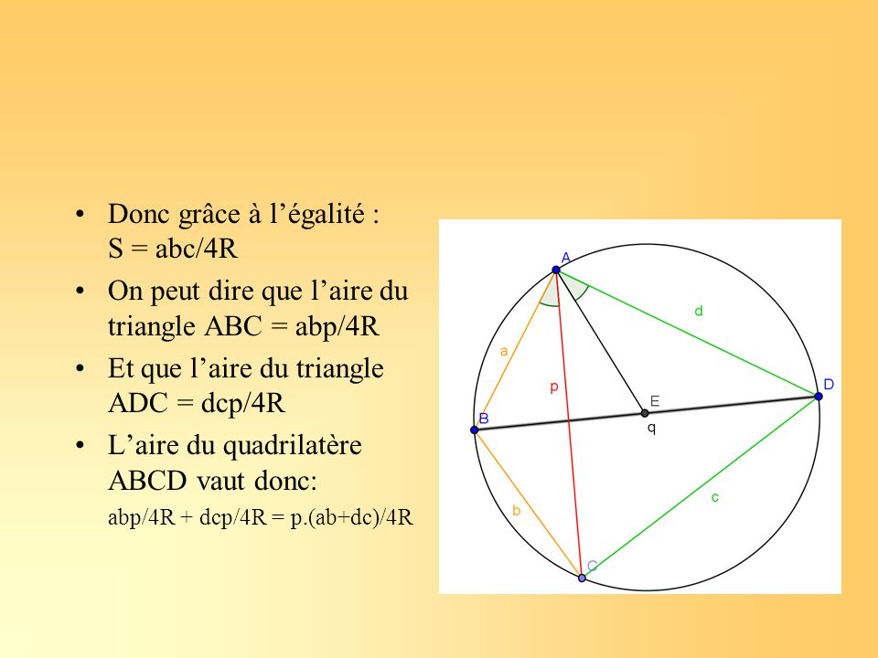 Donc grâce à l'égalité : S = abc/4R On peut dire que l'aire du triangle ABC = abp/4R Et que l'aire du triangle ADC = dcp/4R L'aire du quadrilatère ABC