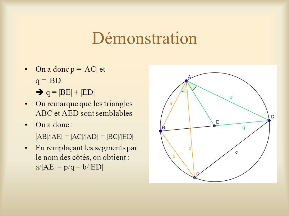 Démonstration On a donc p = |AC| et q = |BD|  q = |BE| + |ED| On remarque que les triangles ABC et AED sont semblables On a donc : | AB|/|AE| = |AC|/