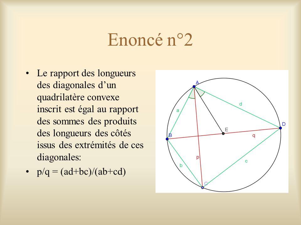 Démonstration: 1ère partie Avant tout, prouvons que le produit des longueurs de deux côtés d'un triangle est égal au produit du diamètre du cercle circonscrit par la hauteur correspondant au 3ème côtés: |AB|.|AC| = |AE|.|AD|  |AB|/|AE| = |AD|/|AC|  |AB|/|AD| = |AE|/|AC| Transformons l'égalité donnée dans l'énoncé.