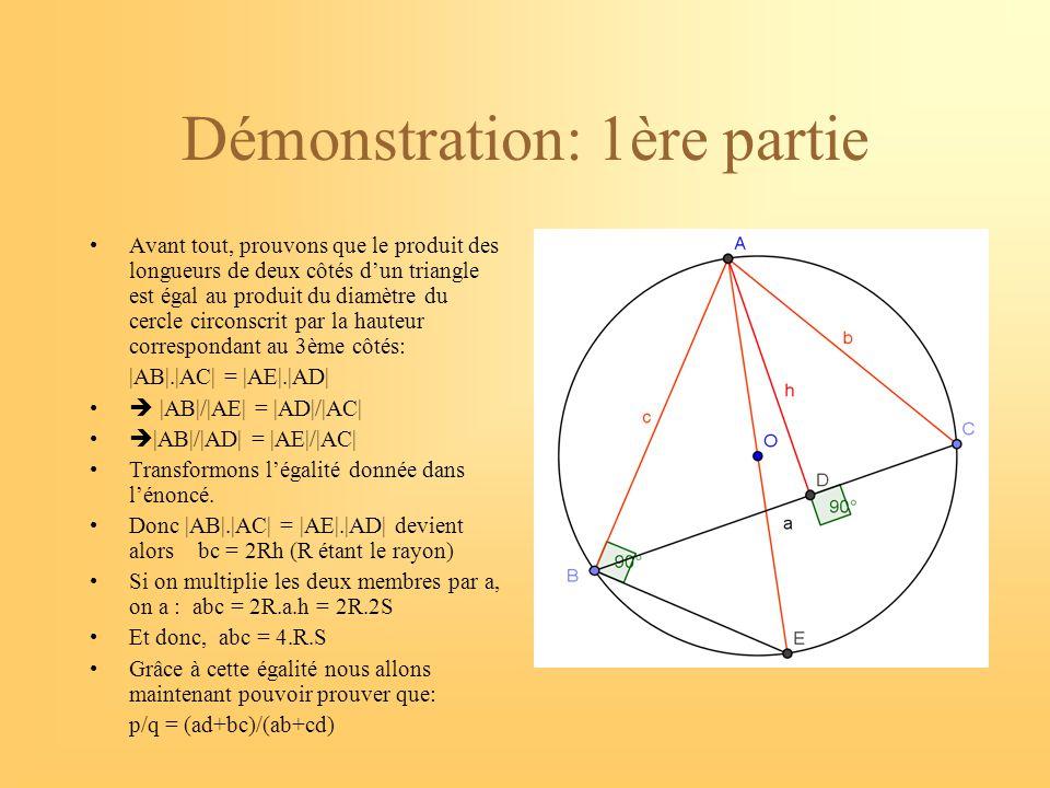 Démonstration: 2ème partie L'égalité précédente nous permet de déterminer l'aire de triangle: S= abc/4R Déterminons l'aire du quadrilatère ABCD en le décomposant en deux triangles par rapport à la diagonale p: Le triangle ABC et le triangle ADC