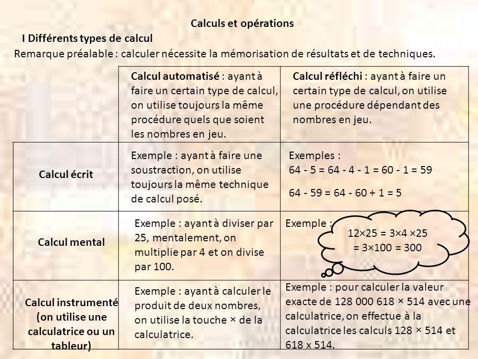 25 × 124 25 × 4 × 31 = 100 × 31 = 3100 25 × 124 == 3100 5 × 5 × 124 = 5 × 620 = 3100 II Exercices de calcul mental