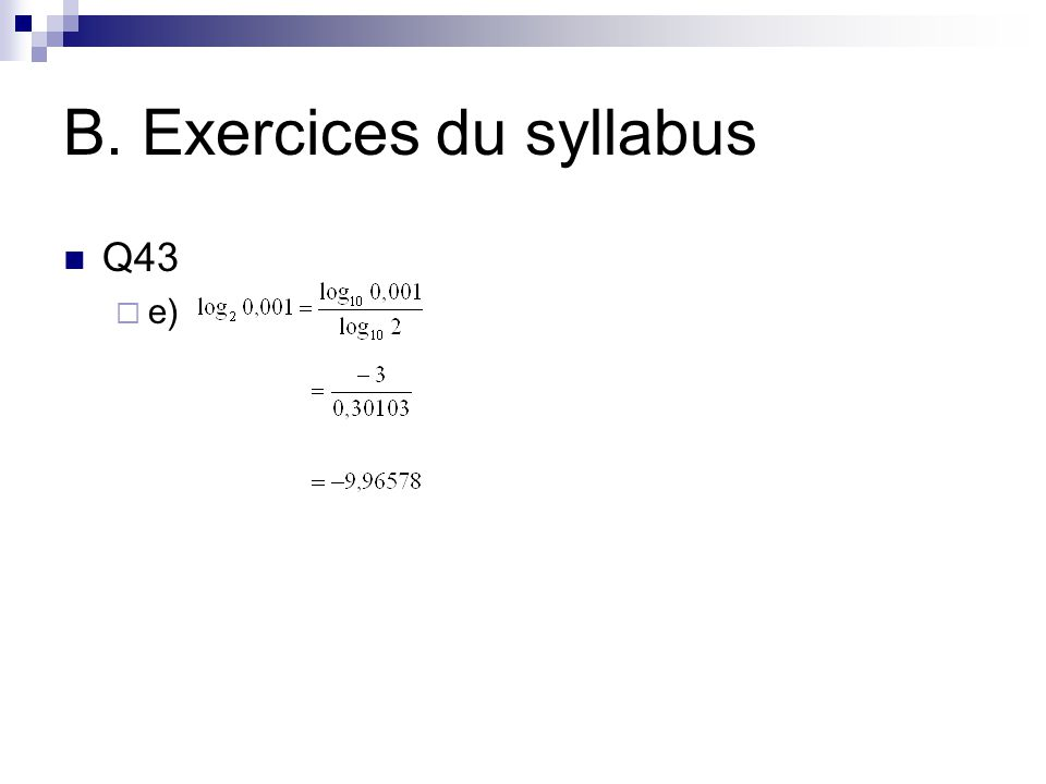 B. Exercices du syllabus Q43  e)