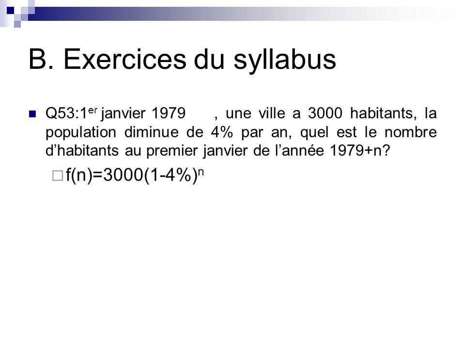 B. Exercices du syllabus Q53:1 er janvier 1979, une ville a 3000 habitants, la population diminue de 4% par an, quel est le nombre d'habitants au prem