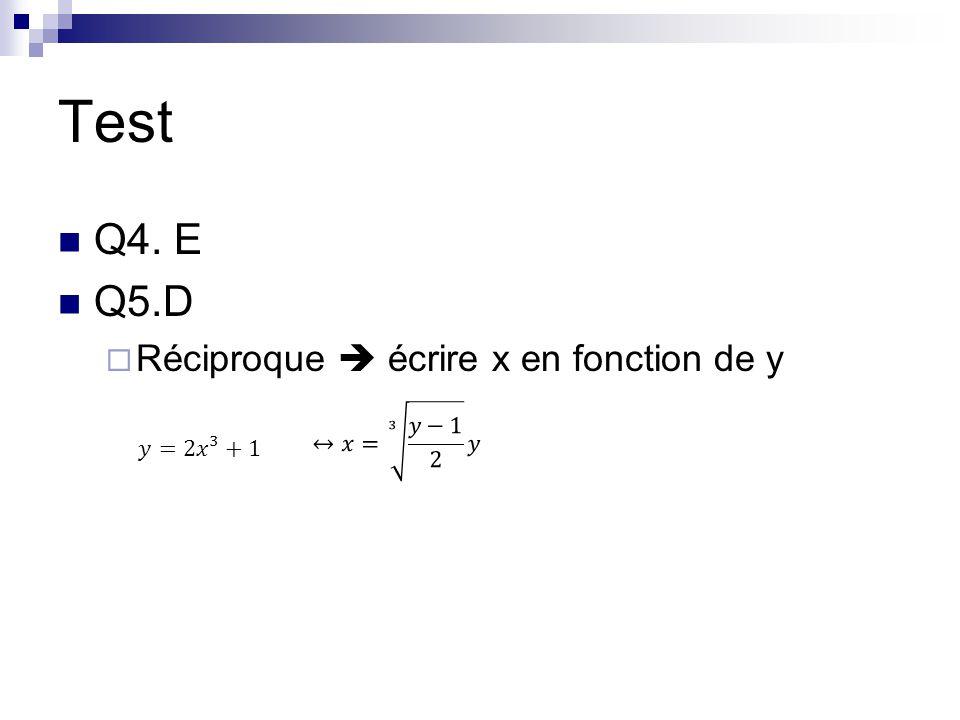 Test Q4. E Q5.D  Réciproque  écrire x en fonction de y