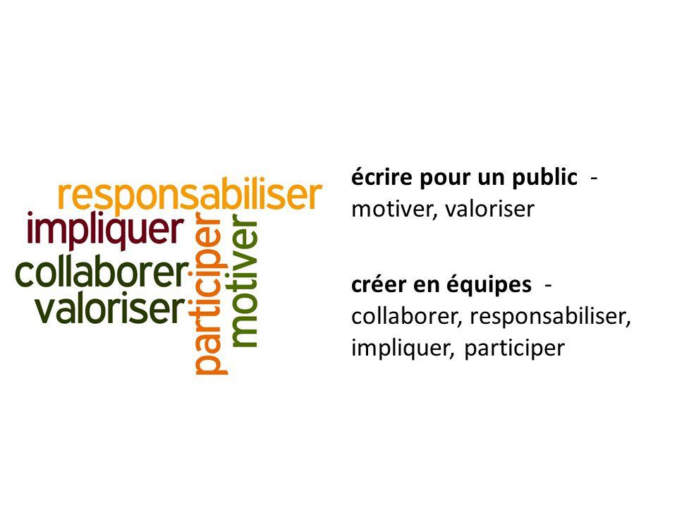 écrire pour un public - motiver, valoriser créer en équipes - collaborer, responsabiliser, impliquer, participer