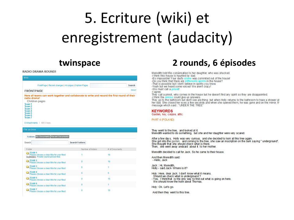 5. Ecriture (wiki) et enregistrement (audacity) twinspace2 rounds, 6 épisodes