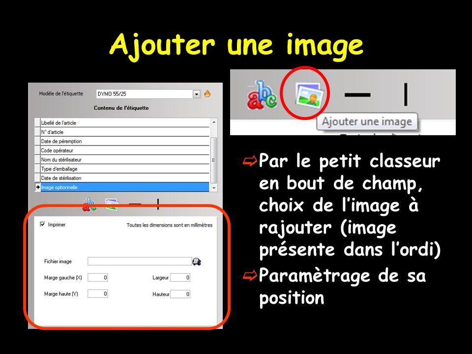 Ajouter une image  Par le petit classeur en bout de champ, choix de l'image à rajouter (image présente dans l'ordi)  Paramètrage de sa position