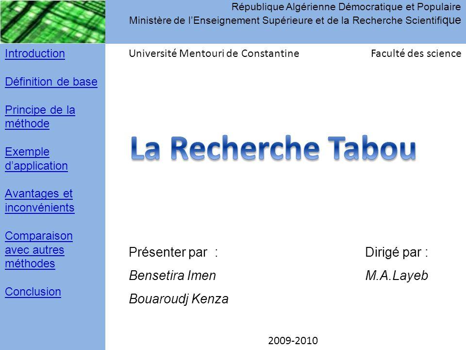 République Algérienne Démocratique et Populaire Ministère de l'Enseignement Supérieure et de la Recherche Scientifi que Introduction Définition de bas