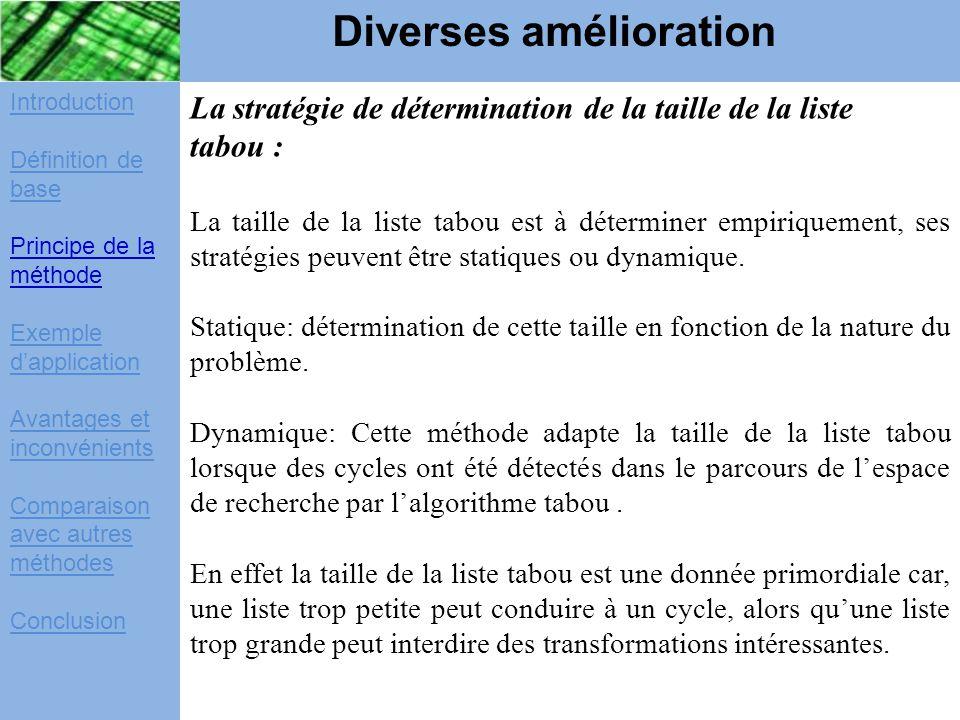Introduction Définition de base Principe de la méthode Exemple d'application Avantages et inconvénients Comparaison avec autres méthodes Conclusion La