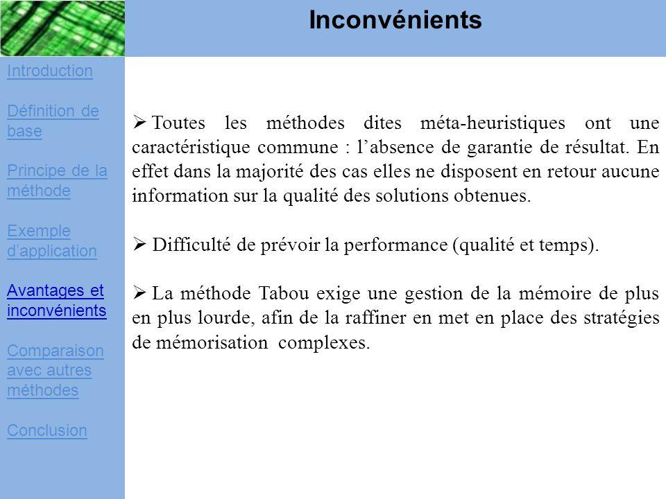 Introduction Définition de base Principe de la méthode Exemple d'application Avantages et inconvénients Comparaison avec autres méthodes Conclusion In
