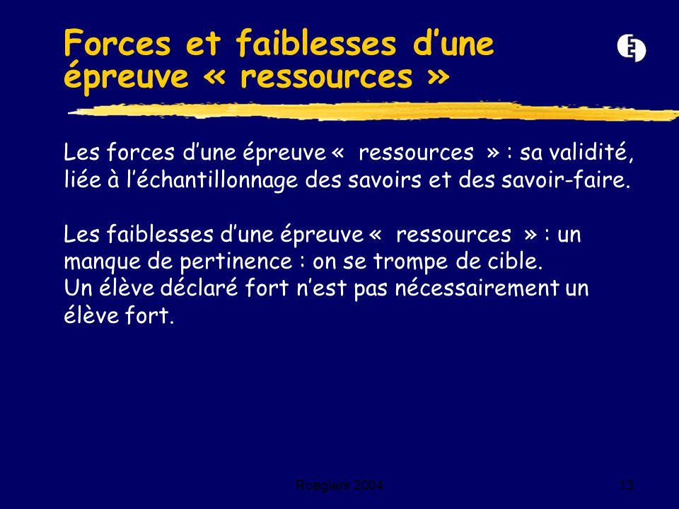 Roegiers 200413 Les forces d'une épreuve « ressources » : sa validité, liée à l'échantillonnage des savoirs et des savoir-faire. Les faiblesses d'une