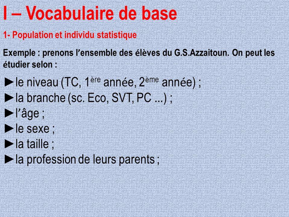 I – Vocabulaire de base 1- Population et individu statistique Exemple : prenons l ' ensemble des é l è ves du G.S.Azzaitoun. On peut les é tudier selo
