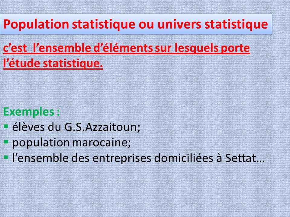 Population statistique ou univers statistique c'est l'ensemble d'éléments sur lesquels porte l'étude statistique. Exemples :  élèves du G.S.Azzaitoun