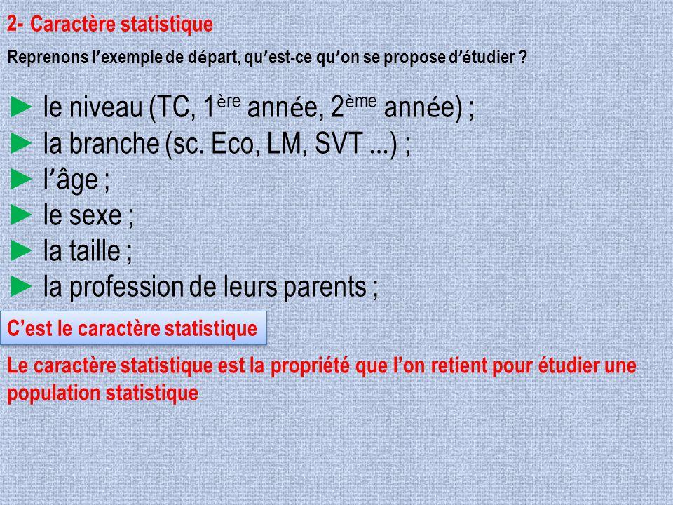 2- Reprenons l ' exemple de d é part, qu ' est-ce qu ' on se propose d 'é tudier ? ► le niveau (TC, 1 è re ann é e, 2 è me ann é e) ; ► la branche (sc