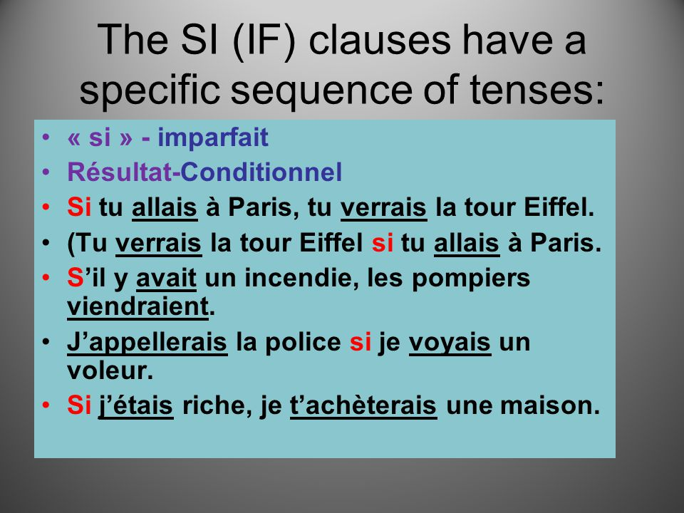 The SI (IF) clauses have a specific sequence of tenses: « si » - imparfait Résultat-Conditionnel Si tu allais à Paris, tu verrais la tour Eiffel.