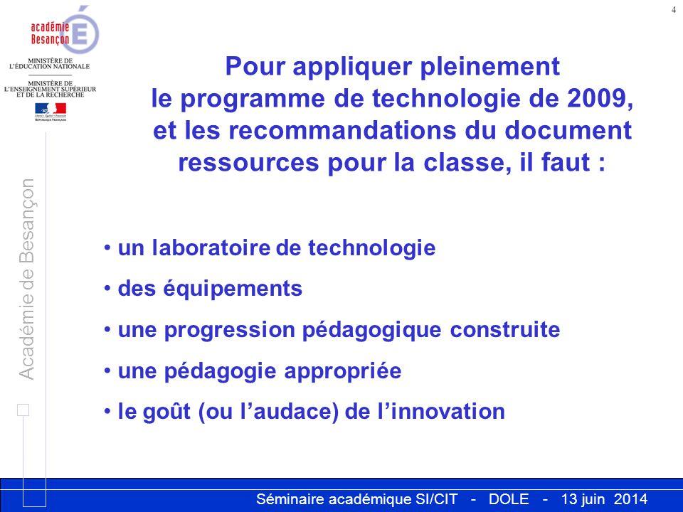 Séminaire académique SI/CIT - DOLE - 13 juin 2014 Académie de Besançon 4 Pour appliquer pleinement le programme de technologie de 2009, et les recomma