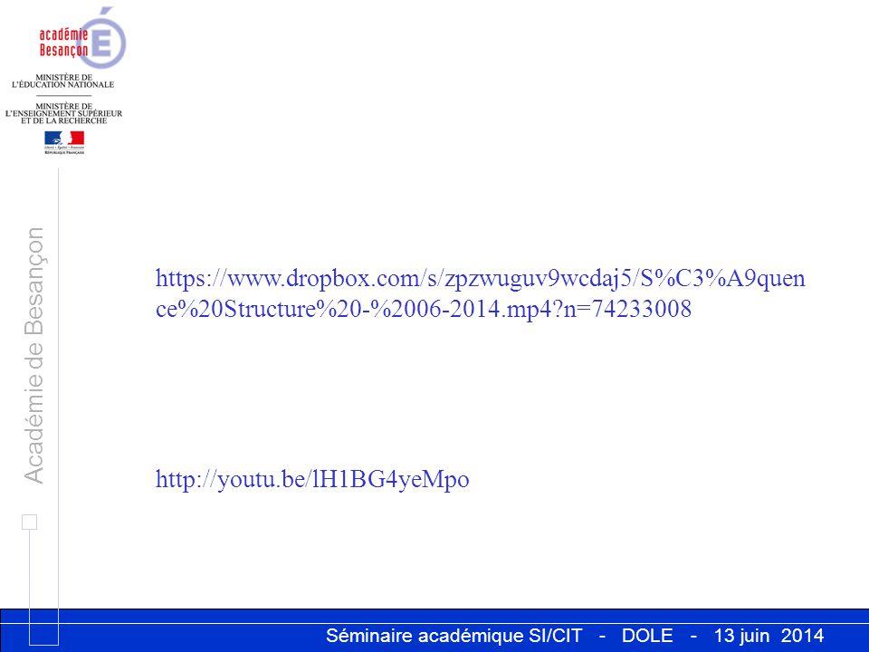 Séminaire académique SI/CIT - DOLE - 13 juin 2014 Académie de Besançon https://www.dropbox.com/s/zpzwuguv9wcdaj5/S%C3%A9quen ce%20Structure%20-%2006-2