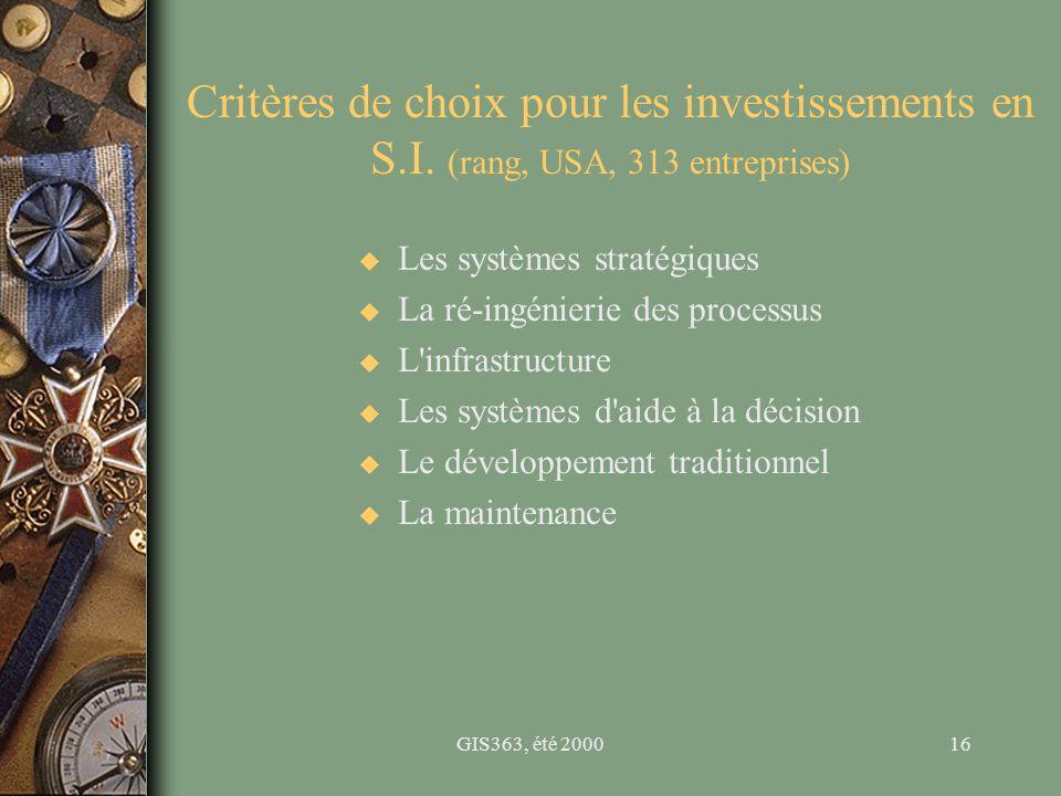GIS363, été 200016 Critères de choix pour les investissements en S.I. (rang, USA, 313 entreprises) u Les systèmes stratégiques u La ré-ingénierie des