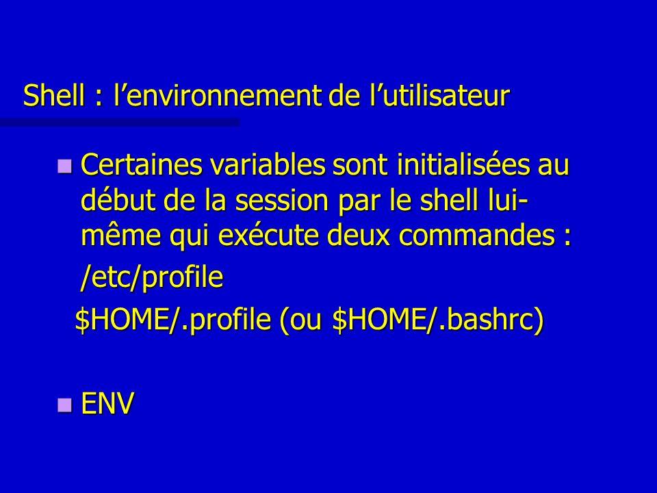 Shell : l'environnement de l'utilisateur Certaines variables sont initialisées au début de la session par le shell lui- même qui exécute deux commandes : Certaines variables sont initialisées au début de la session par le shell lui- même qui exécute deux commandes :/etc/profile $HOME/.profile (ou $HOME/.bashrc) $HOME/.profile (ou $HOME/.bashrc) ENV ENV