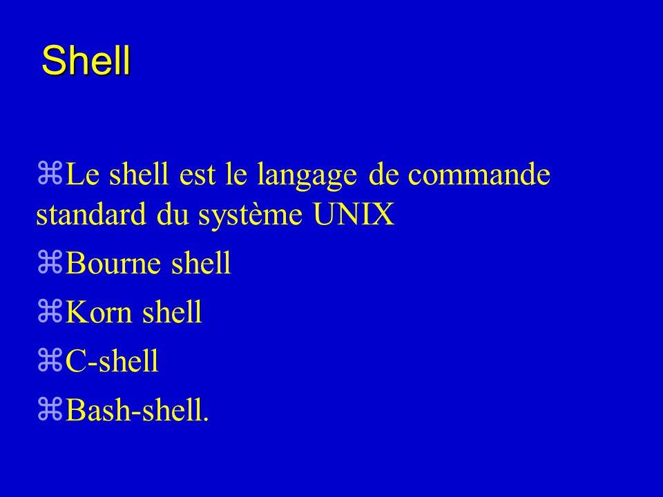 zLe shell est le langage de commande standard du système UNIX zBourne shell zKorn shell zC-shell zBash-shell.