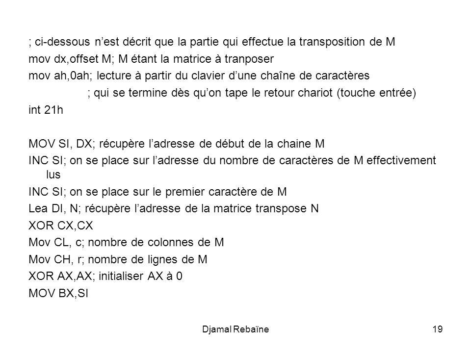 Djamal Rebaïne19 ; ci-dessous n'est décrit que la partie qui effectue la transposition de M mov dx,offset M; M étant la matrice à tranposer mov ah,0ah