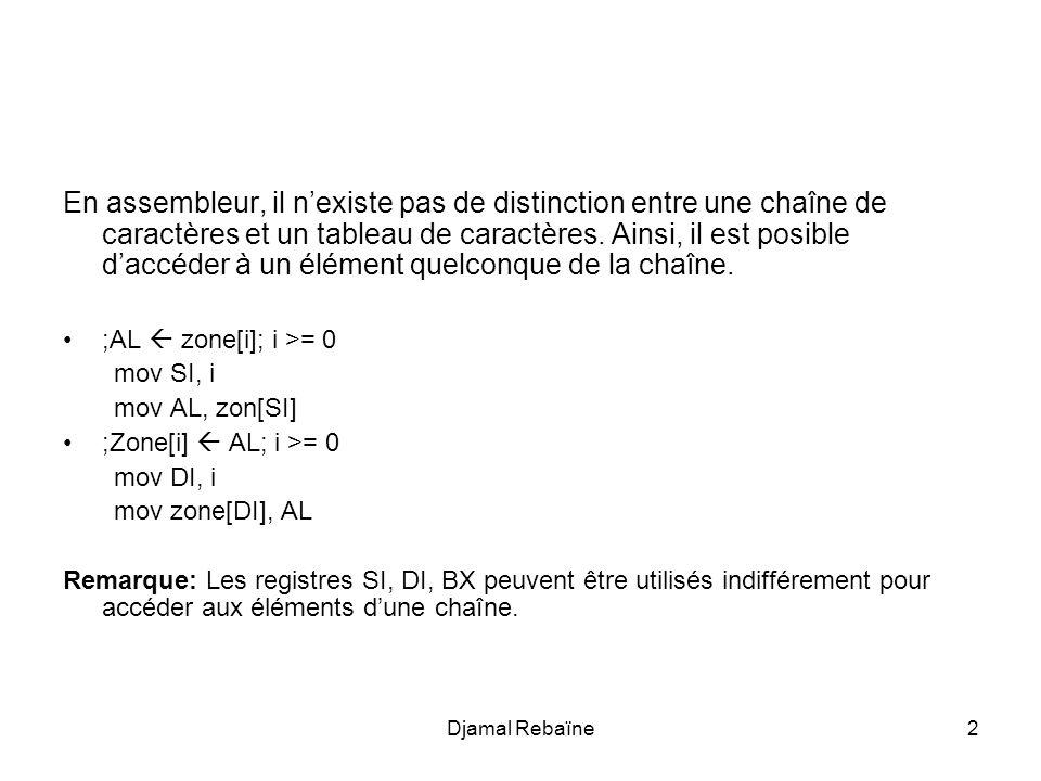 Djamal Rebaïne2 En assembleur, il n'existe pas de distinction entre une chaîne de caractères et un tableau de caractères. Ainsi, il est posible d'accé