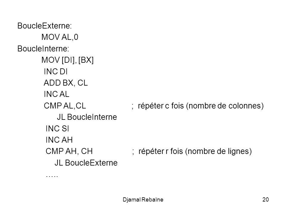 Djamal Rebaïne20 BoucleExterne: MOV AL,0 BoucleInterne: MOV [DI], [BX] INC DI ADD BX, CL INC AL CMP AL,CL ; répéter c fois (nombre de colonnes) JL Bou