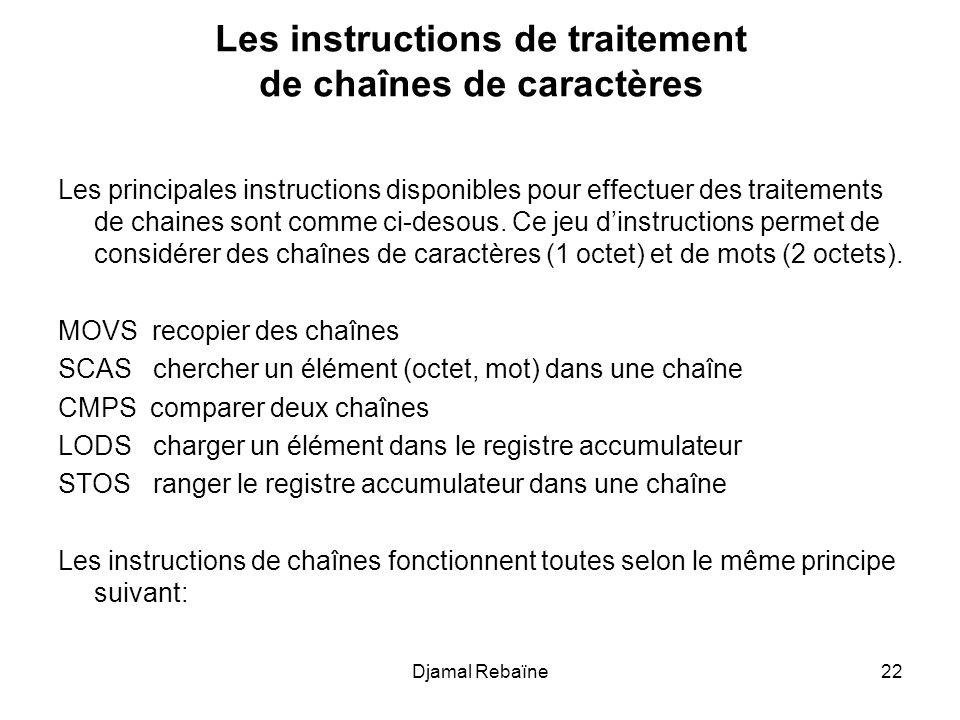 Djamal Rebaïne22 Les instructions de traitement de chaînes de caractères Les principales instructions disponibles pour effectuer des traitements de ch